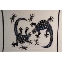 Mini tenture blanc bleu lombok famille geckos