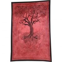 Tenture rouge arbre de vie celtique