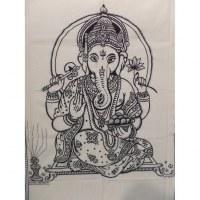 Tenture Dieu Ganesh noir/blanc
