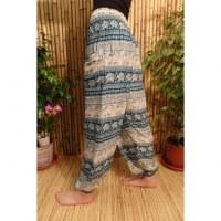 Pantalon Buriram turquoise/écru éléphants