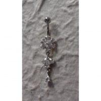 Piercing nombril argent & strass fleur