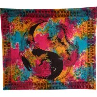 Tenture multicolore dragons yin yang