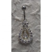 Piercing nombril argent & strass goutte