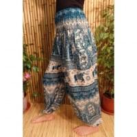 Pantalon Buriram turquoise éléphants