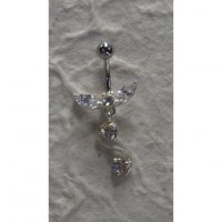 Piercing nombril argent & strass S ailé
