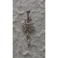 Piercing nombril argent & strass mariposa