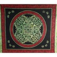 Tenture maxi symbole celte noir/vert