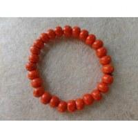 Bracelet élastique perles en bois oranges