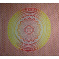 Tenture maxi blanche lotus jaune/rouge
