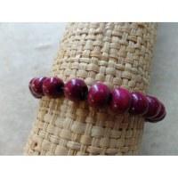 Bracelet élastique perles en bois violettes