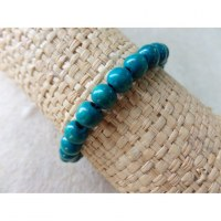 Bracelet élastique perles en bois turquoise