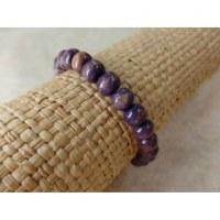 Bracelet élastique perles en bois violine