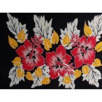 Petite tenture noire hibiscus rouges