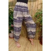 Pantalon Buriram bleu marine/écru éléphants