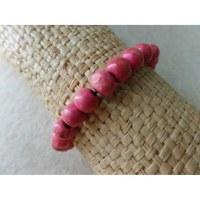 Bracelet élastique perles en bois rose