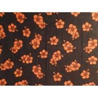 Petite tenture noire hibiscus oranges