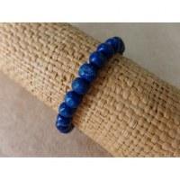 Bracelet élastique perles en bois bleues