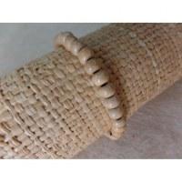 Bracelet élastique perles en bois blanc