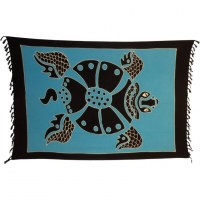 Mini tenture noir et bleu tortue abstraite