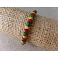 Bracelet élastique perles plates rasta
