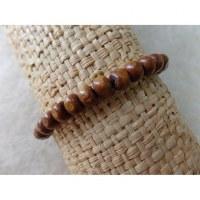 Bracelet élastique perles en bois marron