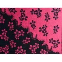Petite tenture noire/rose fleurs roses/noirs