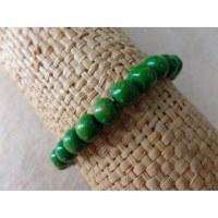 Bracelet élastique perles en bois vertes