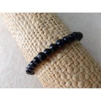 Bracelet élastique perles en bois noir