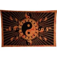 Tenture full yin yang orange et noir