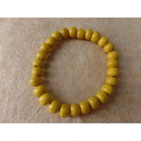 Bracelet élastique perles en bois jaunes