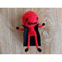 Porte clé cape man rouge bouche cousue