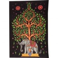 Tenture color arbre de vie et éléphant
