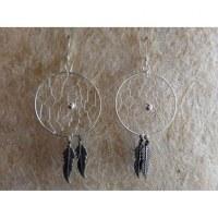 Boucles d'oreilles dreamcatcher perle grise