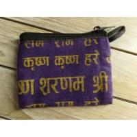 Porte monnaie plat sanskrit violet/jaune