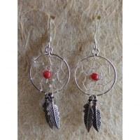 Boucles d'oreilles dreamcatcher perle rouge