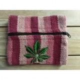 Porte monnaie rayé rose feuille verte