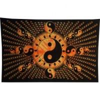 Tenture full yin yang jaune orange et noir