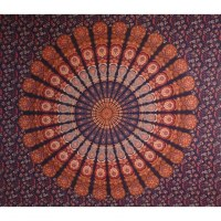 Tenture maxi bleu marine/orange éventail floral