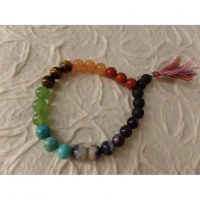 Bracelet mala 7 chakras pompon multicolore