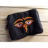 Porte monnaie noir les yeux de Bouddha jaune/rouge
