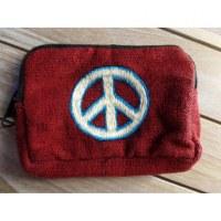 Porte monnaie rouge peace & love blanc/bleu