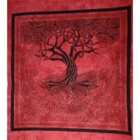 Tenture maxi vermillon arbre de vie celtique