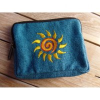 Porte monnaie bleu spirale soleil jaune