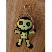 Porte-clés big skeleton dj vert fluo