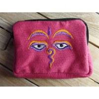 Porte monnaie rose les yeux de Bouddha orange/mauve