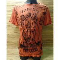 Tee shirt orange Bouddha respect