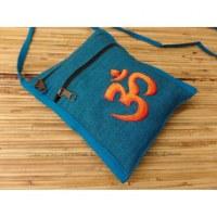 Sac passeport bleu brodé Aum orange/rouge