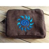 Porte monnaie marron spirale soleil bleue