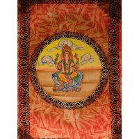 Tenture Ganapati dans un lotus jaune/orange/marron