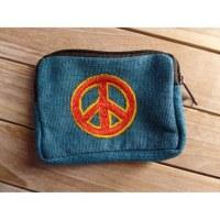Porte monnaie bleu peace and love rouge/orange